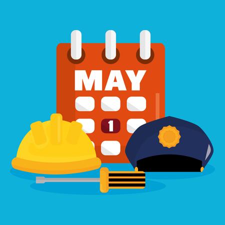 builder helmet and police hat with calendar vector illustration design