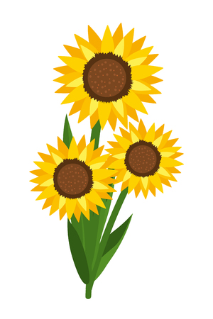 floral sunflower cartoon  イラスト・ベクター素材
