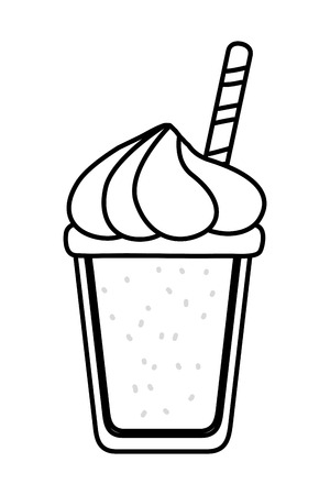 delicious tasty drink milkshake cartoon vector illustration graphic design 向量圖像