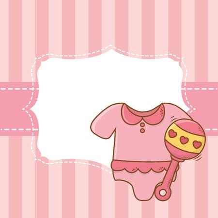 cute baby shower elements invitation frame cartoon vector illustration graphic design Imagens - 122804866