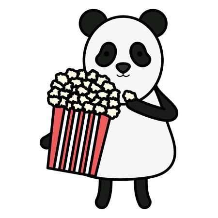 cute panda with pop corn character