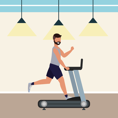 fitness exercise man running over treadmill workout healthy fit lifestyle gym scene cartoon vector illustration graphic design