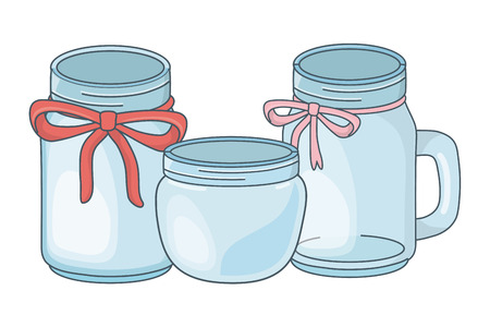 glass bottles decoration with ribbon cartoon vector illustration graphic design  イラスト・ベクター素材