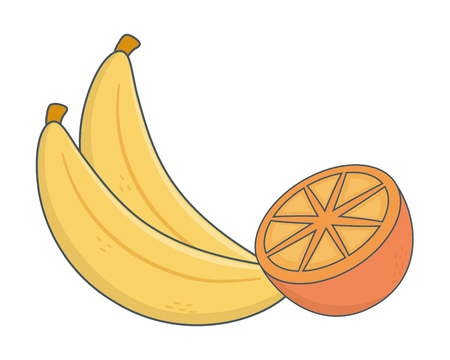 delicious tasty healthy fresh fruits cartoon vector illustration graphic design