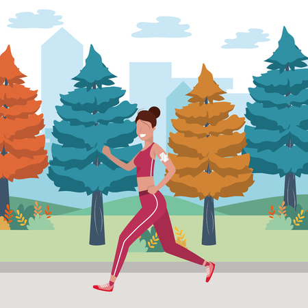 fitness sport train woman running outdoor scene cartoon vector illustration graphic design 向量圖像