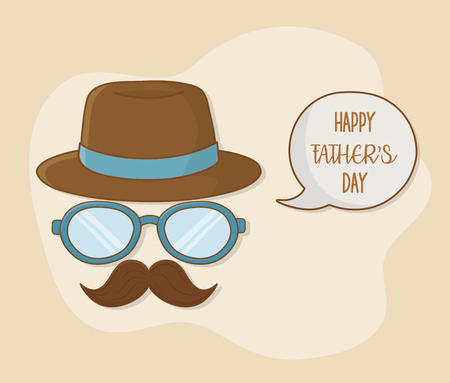 happy fathers day card with mustache and glasses vector illustration design