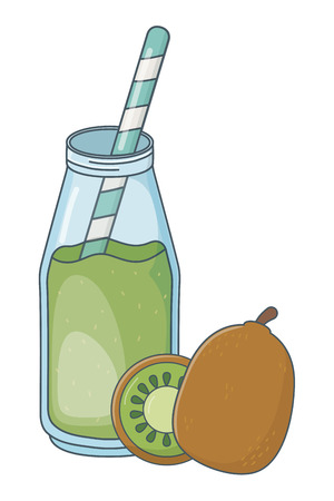 delicious healthy meal juice with fruits mix cartoon vector illustration graphic design Stock Illustratie
