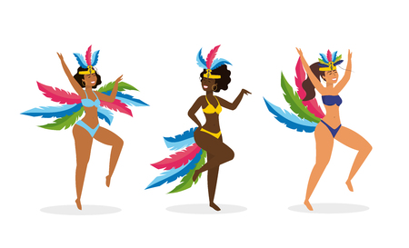 set cute girls dancers with costume and feathers Banque d'images - 121802144