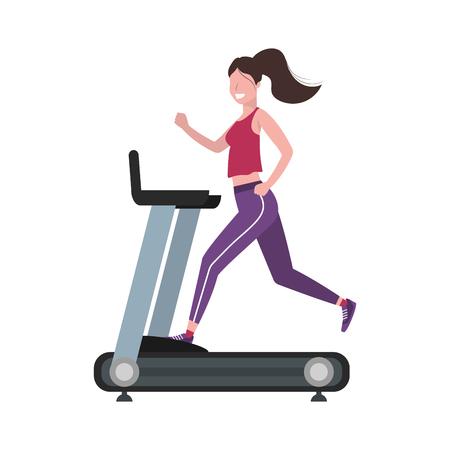 Ejercicio físico mujer corriendo sobre la cinta de correr entrenamiento estilo de vida saludable en forma de dibujos animados ilustración vectorial diseño gráfico Ilustración de vector