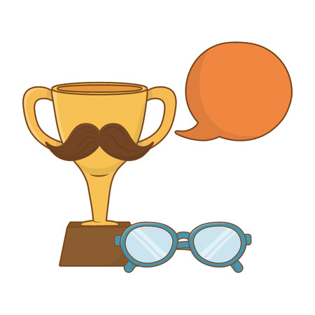 trophy with moustache icon cartoon with glasses and speech bubble vector illustration graphic design