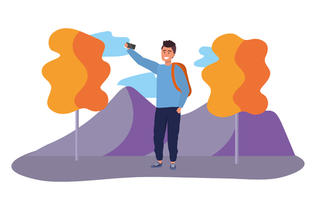 Millennial student wearing backpack using smartphone taking selfie outdoors colorful nature background with trees vector illustration graphic design