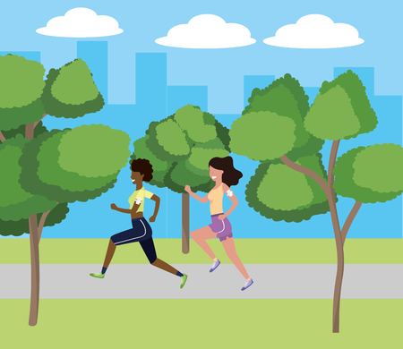 women running with sportwear avatar cartoon character park landscape vector illustration graphic design