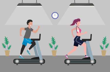 fitness exercise couple running over treadmill workout healthy fit lifestyle gym scene cartoon vector illustration graphic design Stock Vector - 122745671