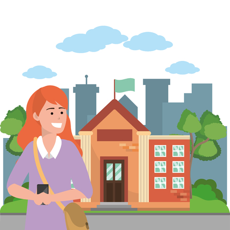 Student redhead woman texting using smartphone browsing on college or university campus background cityscape background vector illustration graphic design Illustration