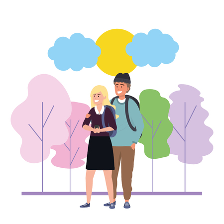 Millenial couple blonde woman wearing sirt and man with beanie date walk in the park using smartphone nature background with colorful trees sunny sky vector illustration graphic design