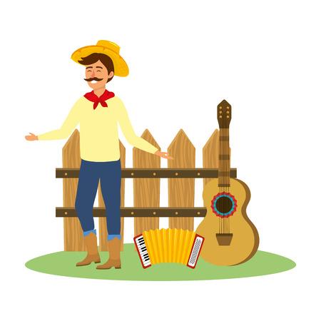 festa junina brazil party festival june celebration man with traditional elements cartoon vector illustration graphic design Banque d'images - 122745780