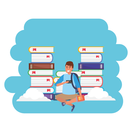 Online education millenial student wearing shorts holding book sitting book stacks clouds background splash frame vector illustration graphic design