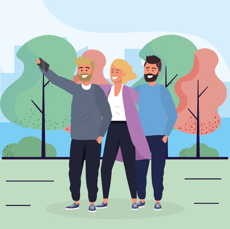 woman and men friends with smartphone and trees vector illustration