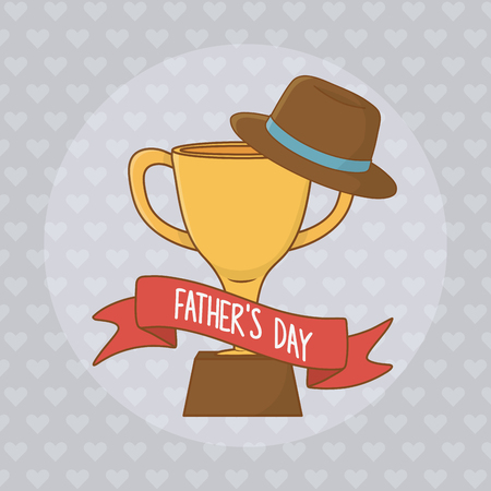 happy fathers day card with trophy cup vector illustration design 向量圖像