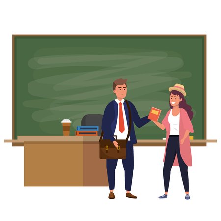 Millennial students man wearing suit and tie woman with purple dyed hair using smartphone indoors classroom background with blackboard vector illustration graphic design