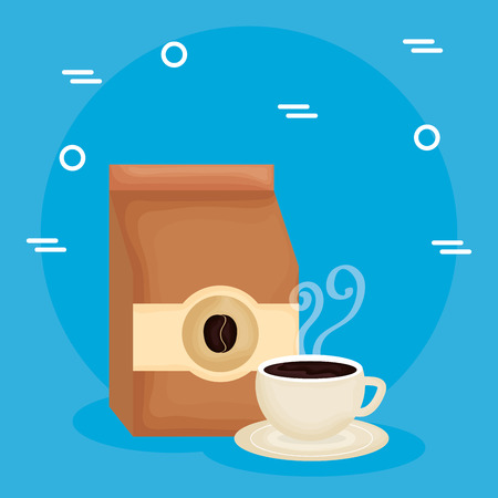 delicious coffee cup and bag vector illustration design