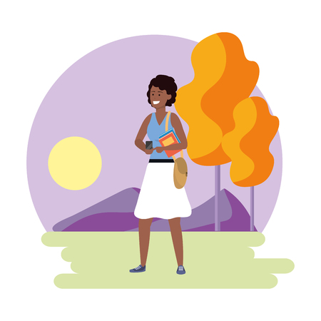 Millennial student afro woman wearing skirt using smartphone texting outdoors colorful nature background with trees frame vector illustration graphic design Illustration