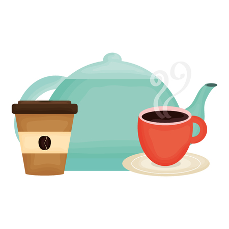 kitchen teapot and coffee drinks vector illustration design Illusztráció