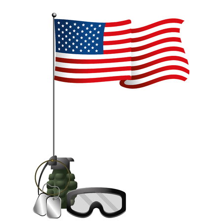 united state flag with grenade goggles and dog tag plates vector illustration graphic design Ilustrace