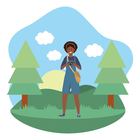 Millennial student afro woman wearing overalls outdoors texting using smartphone grass and trees nature background frame vector illustration graphic design Ilustración de vector