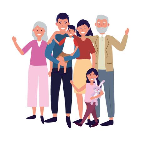 family avatar cartoon character vector illustration graphic design 向量圖像