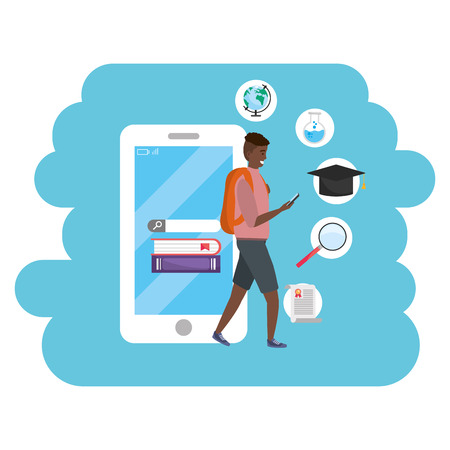 Online education millennial student wearing shorts and backpack using smartphone with account and password young person career search splash frame vector illustration graphic design Ilustrace