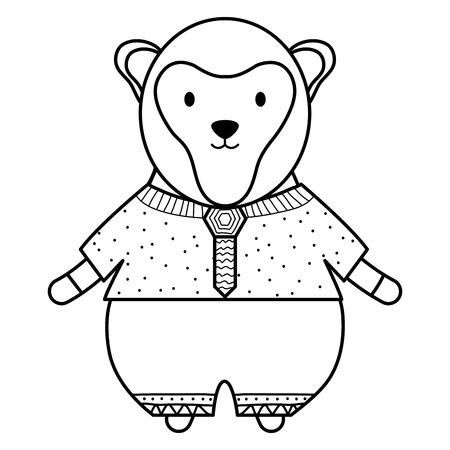 cute monkey childish character vector illustration design