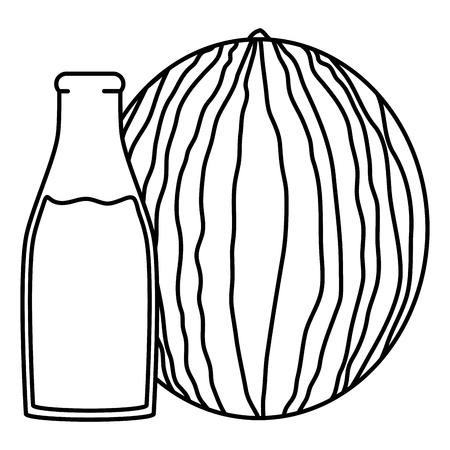 fresh watermelon juice fruit in botttle vector illustration design