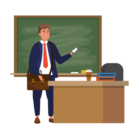 Millennial student man wearing suit and tie using smartphone indoors classroom background with blackboard vector illustration graphic design