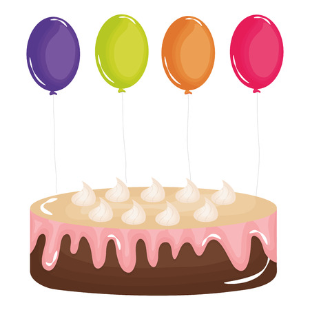 delicious sweet cake with balloons helium vector illustration design