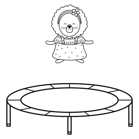 cute female lioness in elastic trampoline vector illustration design