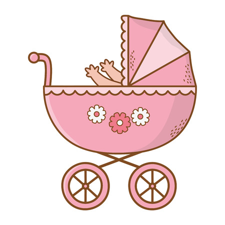 cute baby shower baby inside carriage cartoon vector illustration graphic design