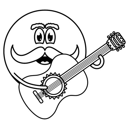 mexican emoji character with guitar vector illustration design  イラスト・ベクター素材