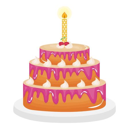 Delicioso pastel dulce con cerezas y velas, diseño de ilustraciones vectoriales Ilustración de vector