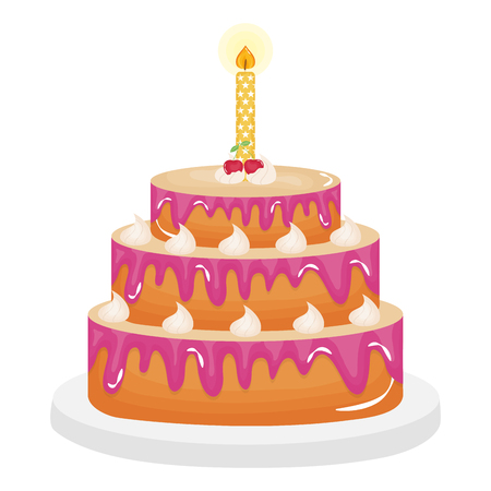 delicious sweet cake with cherries and candles vector illustration design Ilustração Vetorial