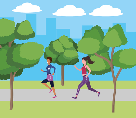 women running with sportwear avatar cartoon character park landscape vector illustration graphic design