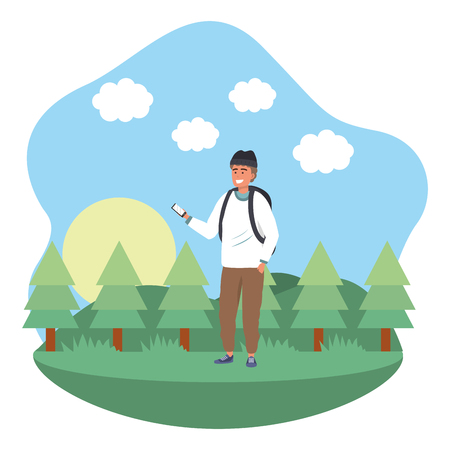 Millennial student wearing beanie and backpack outdoors texting using smartphone grass and trees nature background frame vector illustration graphic design