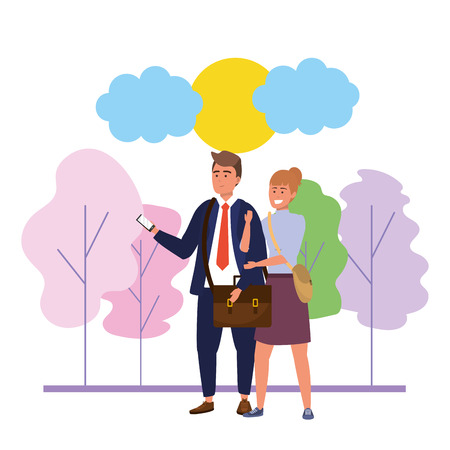 Millenial couple man wearing suit and redhead woman date walk in the park using smartphone nature background with colorful trees sunny sky vector illustration graphic design