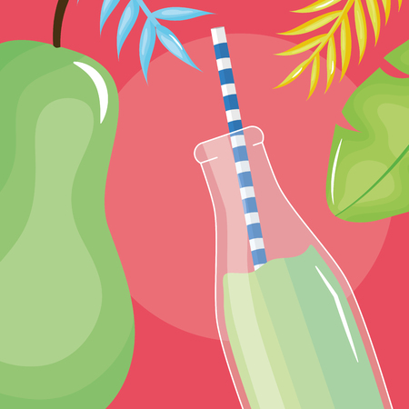 fresh pear half juice fruit in botttle with straw in leafs palms vector illustration design