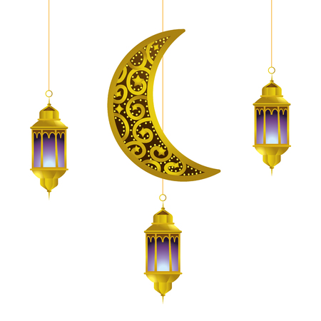 hanging lamp and moon icon cartoon vector illustration graphic design