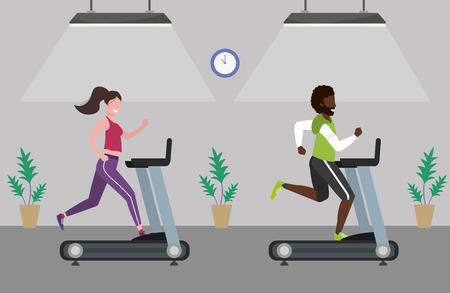 fitness ćwiczenia para bieganie po bieżni trening zdrowy dopasowanie styl życia scena gimnastyczna kreskówka wektor ilustracja projekt graficzny Ilustracje wektorowe
