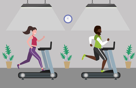 fitness exercise couple running over treadmill workout healthy fit lifestyle gym scene cartoon vector illustration graphic design Illustration