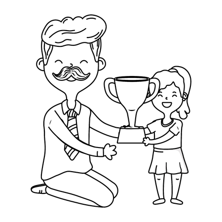 man with child and trophy avatar cartoon character moustache black and white vector illustration graphic design