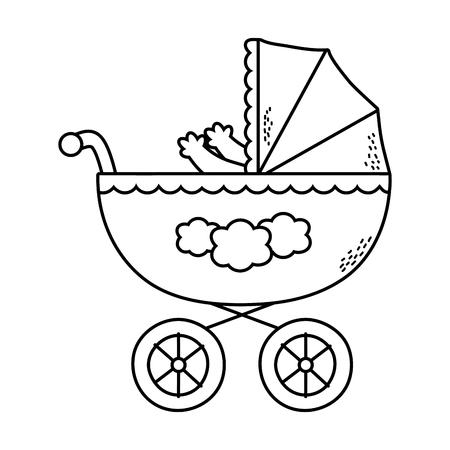 Cute baby shower bebé dentro del carro de dibujos animados ilustración vectorial diseño gráfico