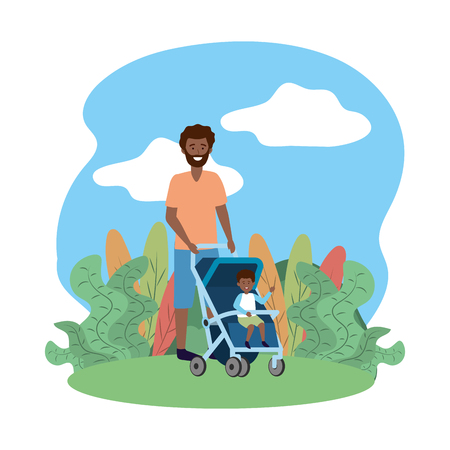 father with baby carriage avatar cartoon character park landscape vector illustration graphic design Vectores